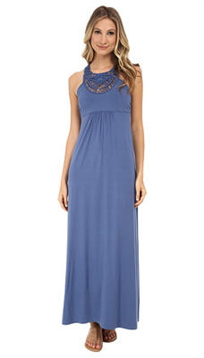 Tommy Bahama blue full length dress with crochet design at chest