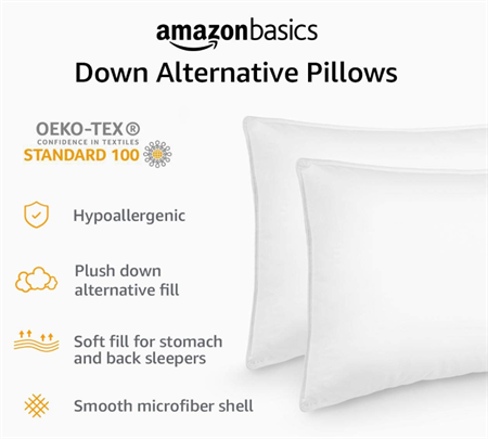 Two white pillows standing with amazon basics info