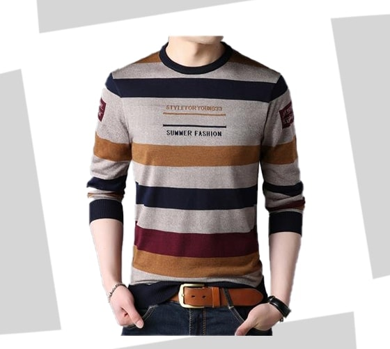 Man wearing brown, navy, mustard yellow, and dark red burgundy striped crewneck sweater.