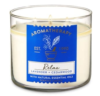 Relax Lavender Cedarwood Aromatherapy candle from bath & body works