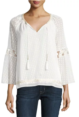 Long sleeve white lace blouse with draw strings