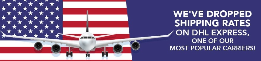MyUS international shipping prices reduced for DHL Express carrier. Graphic of airplane and US flag.