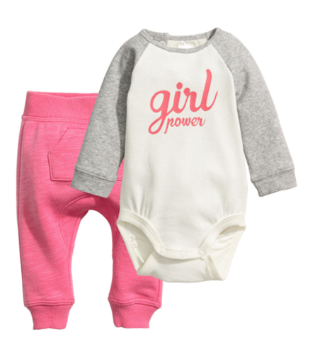 H&M girls bodysuit and pink pants