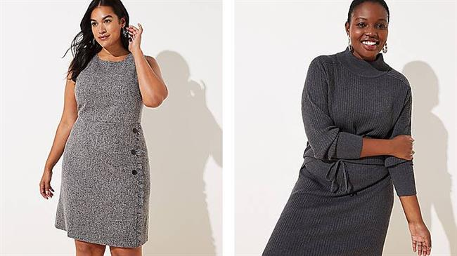 Two models wearing fashion from Loft: a tweed dress and a mock neck  sweater and skirt in gray