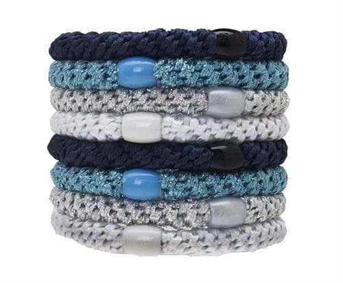 Metallic braided elastic hair ties with coordinating colored beads, in various shades of blue.