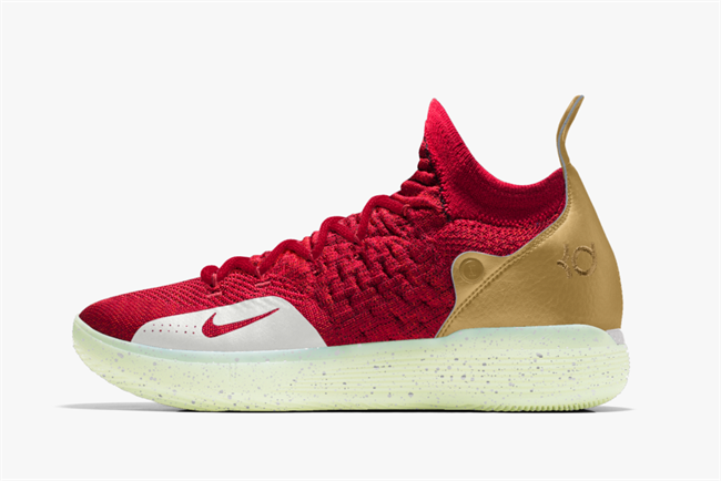 Nike Zoom KD11 customized in gold and black with glow in the dark sole