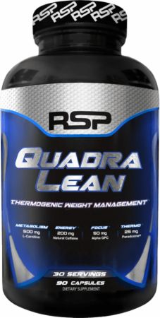 QuadraLean Thermogenic Food Supplement Capsules in silver and blue container