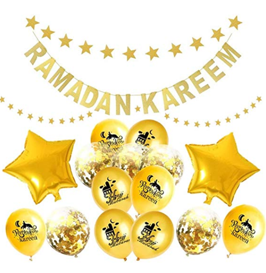 Gold Confetti Balloons and star banners for Ramadan Party Decorating