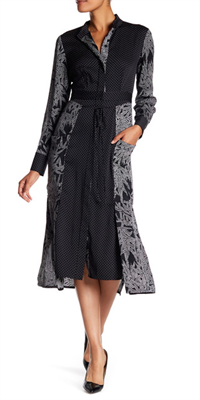 Midi silk shirt dress in black and gray print by Diane von Furstenburg