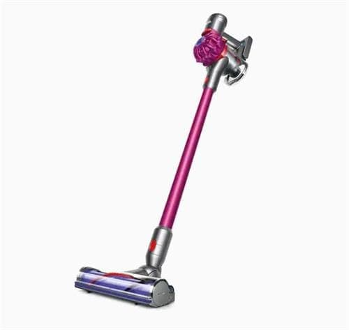 Dyson cordless stick vacuum with purple brush head and light purple stick