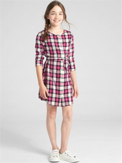 Plaid Tie-Belt Shirt Dress