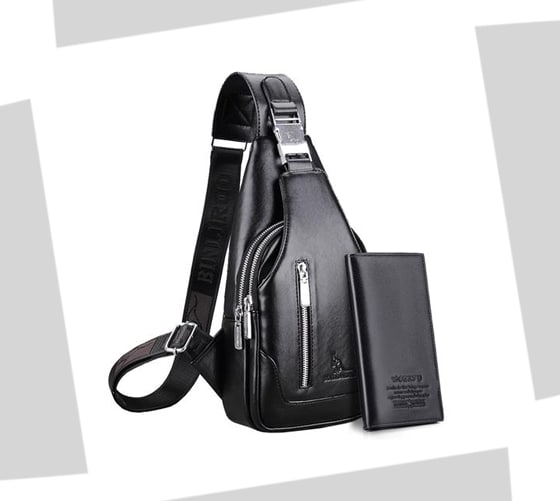 Black leather-look sling bag with one shoulder strap and silver nickel hardware