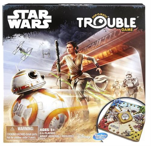 Cover of Star Wars edition of Trouble with BB-8 and Rey being chased by Storm Troopers