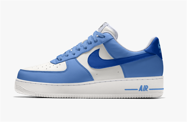 Nike Air Force 1 Low customized in blue and white