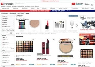 Overstock makeup product page