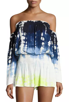 Off the shoulder Tie-Dye Romper in blues, whites, and lime greens