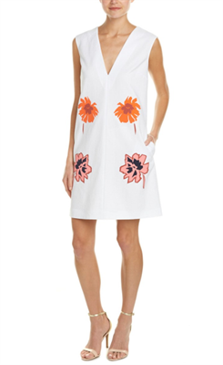 Deep V flower white dress by Stella Mccartney