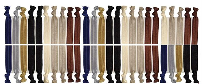 Kenz Laurenz no crease hair ties in variety of neutral colors with knots at the end.