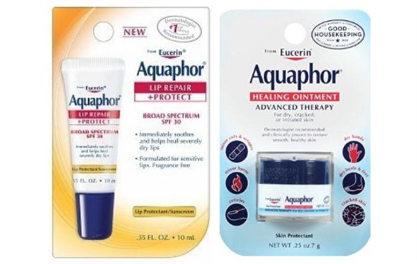 Aquaphor tube and container with packaging