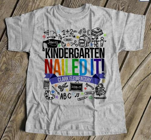 Personalized Kindergarten Graduation Shirt in gray with rainbow letters