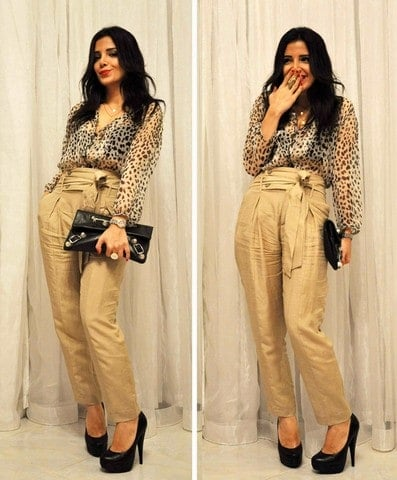 Zahra Lyla Pedram wearing cheetah print blouse and high waisted cream pants